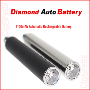 An elite auto e-cig eGo style rechargeable battery with a decorative diamond bottom that turns in to red LED light when vaping. It has a 1100mAh capacity and is activated automatically when inhaling from the tankomizer mouthpiece.