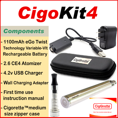 CigoKit4 from Cigorette Inc Canada is an affordable vaping starter Kit that contains a 1100mAh Variable-volt Twist battery, atomizer, USB charger, Wall charging unit, & instructions manual. It is packaged in a Cigorette™ medium leather zipper case.