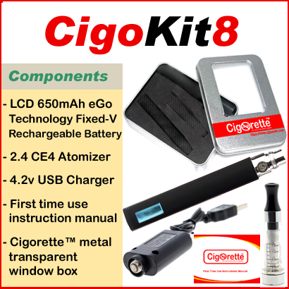 CigoKit8 from Cigorette Inc Canada is an affordable vaping starter Kit that contains LCD 650mAh fixed-volt battery, atomizer, USB charger, & instruction manual. It is packaged in a Cigorette™ metal box
