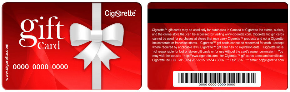 Cigorette Inc Gift Card - e-Cigs and e-Liquids Canada