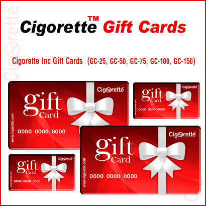 There are 5 different Cigorette Inc Gift-Cards of different values ranging between 25 and 150 Canadian dollars
