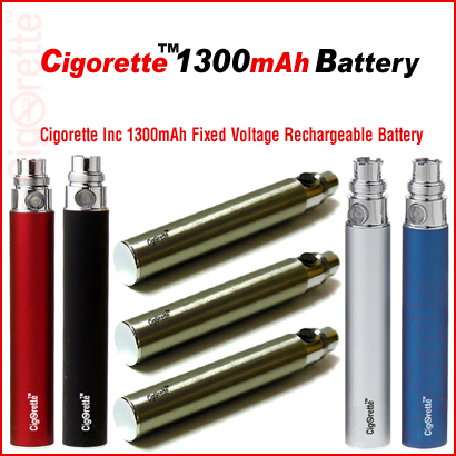 Cigorette Inc 1300mAh Fixed-V eGo style rechargeable battery