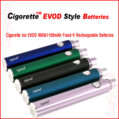 An elite Cigorette Inc EVOD style Fixed-Voltage rechargeable batteries