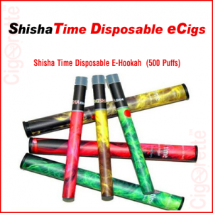 A medium strength (11 mg nicotine) shisha time disposable e-cigarette