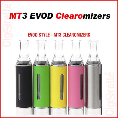 A 510 threaded MT3 EVOD bottom coil clearomizer.