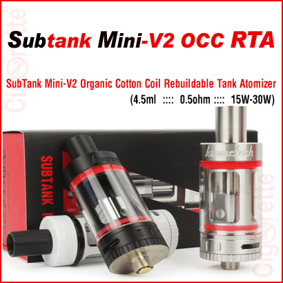 A clearomizer and RTA SubTank Mini-V2 sub-ohm OCC invention that performs as a sub-ohm dripper and offers the convenience of a large tank