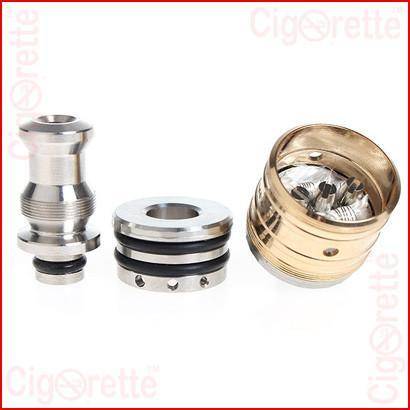 A 510 threaded Trident gold plated tri-post RDA of removable drip tip and adjustable airflow control
