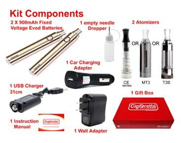 CigoGift2 starter kit from Cigorette Inc contains 2 fixed-v 900mAh batteries, 2 atomizers, USB charger, wall charger, car charger, needle dropper, manual, & gift box