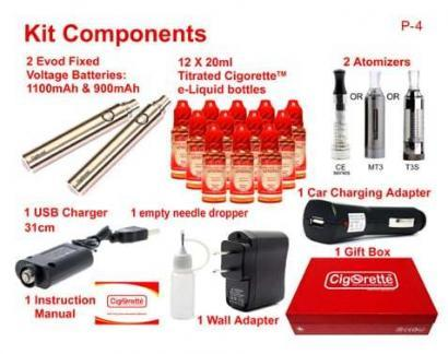 CigoQuit1 quit smoking aid kit from Cigorette Inc is for heavy smokers and contains 12 e-liquid bottles of different strengths and time-framed consumption order. Also, contains 2 batteries, 2 atomizers, USB charger, wall charging adapter, car charging adapter. empty stainless needle dropper, first time use instruction manual, & packed in a Cigorette™ elite gift box.