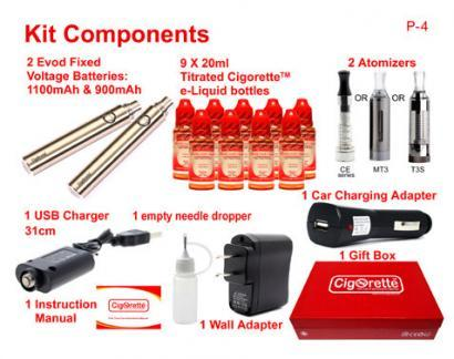 CigoQuit2 quit smoking aid kit from Cigorette Inc is for regular smokers and contains 9 e-liquid bottles of different strengths and time-framed consumption order. Also, contains 2 batteries, 2 atomizers, USB charger, wall charging adapter, car charging adapter, empty stainless needle dropper, first time use instructions manual. CigoQuit2 is packed in a Cigorette™ elite gift box.