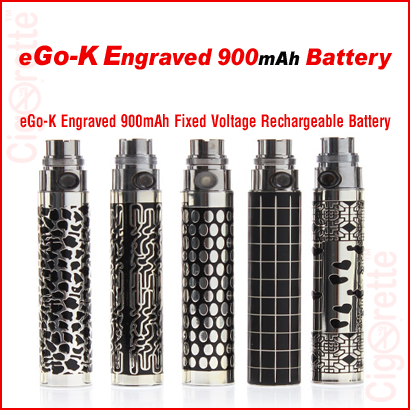 An eGo-K engraved 900mAh rechargeable battery