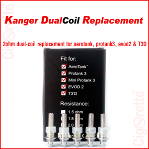 A kangerTech 2 ohm dual-coil unit replacement.
