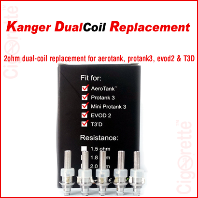 A kangerTech 2 ohm dual-coil unit replacement.