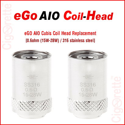 An eGo AIO / Cubis Tank 316 Stainless Steel Coil Head replacement. It has a 0.6ohm resistance and a wattage range from 15 to 28 Watt